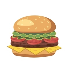 Burger icon cartoon style vector
