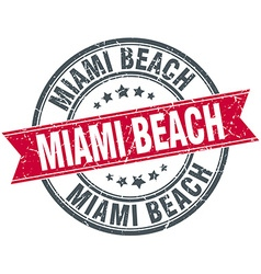 Miami beach red round grunge vintage ribbon stamp vector
