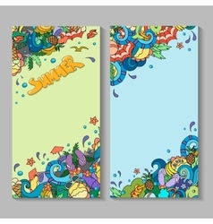 banner templates set with doodles summer vector image vector image