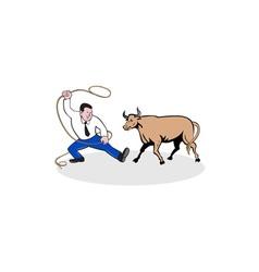 Businessman holding lasso bull cartoon vector