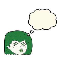 cartoon vampire face with thought bubble vector image
