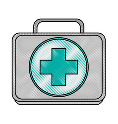 Color blurred stripe image first aid kit with vector