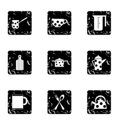 Dining items icons set grunge style vector