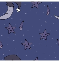 Doodle seamless night pattern background vector