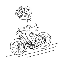 Edit girl on a bicycle contur drawing vector