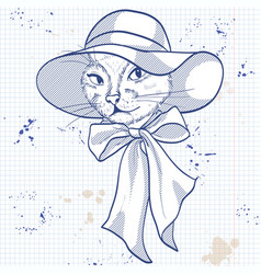 elegant woman with cats head vector image