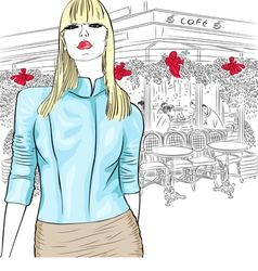 fashion girl in the Parisian cafe vector image vector image