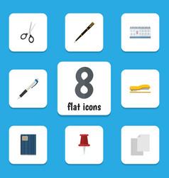 Flat icon tool set of nib pen pencil copybook vector