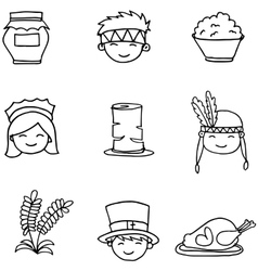 Hand draw doodle thanksgiving set vector