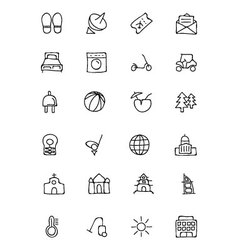 Hotel and restaurant doodle icons 6 vector