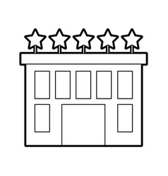 Hotel building with five stars vector