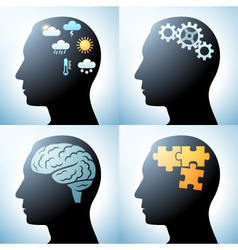 Human head with brain concepts vector image