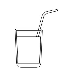 Juice glass with drinking straw black color path vector