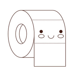 kawaii toilet paper roll in brown silhouette vector image vector image