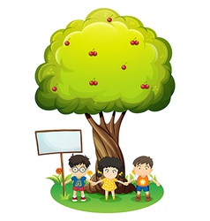 Kids under the tree beside the empty wooden board vector image