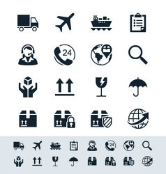 Logistics and shipping icon set simplicity theme vector