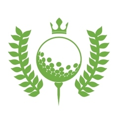 Monochrome silhouette with olive branchs with golf vector