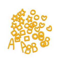 Noodle letters raw pasta macaroni cartoon vector