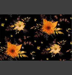 seamless floral pattern of orange yellow gerbera vector image