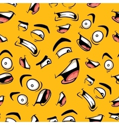 seamless pattern with funny cartoon emotions vector image