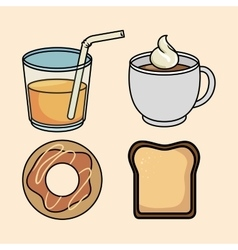 Set breakfast donut bread juice and coffee vector