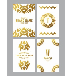 Set of four elegant monochrome gold and white vector