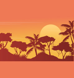 Silhouette of jungle with tree landscape vector