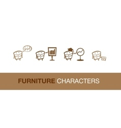 Simple furniture characters vector image vector image