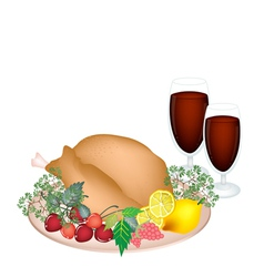Thanksgiving Turkey with Lemon Berry Fruit vector image