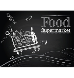 Trolley full of delicious food driving on the road vector image