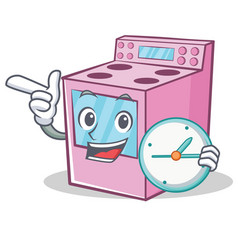 with clock gas stove character cartoon vector image