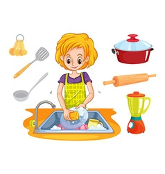 Woman washing dishes in the sink vector