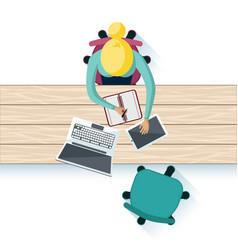 Workplace interior table top design vector