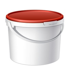 Cool realistic white plastic bucket vector