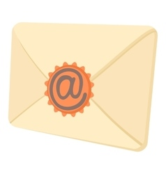 Envelope with email sign seal icon cartoon style vector