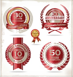 Anniversary retro red labels vector