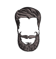 Hand drawn hipster hairstyle beard and mustache vector
