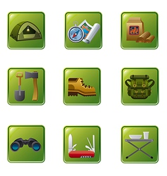 Tourism equipment icon set vector