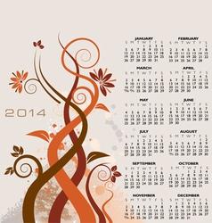 2014 floral calendar vector