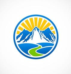rocky mountain landscape logo vector image