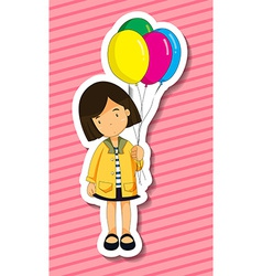 Girl and balloons vector