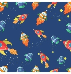 Seamless pattern cartoon rocket vector
