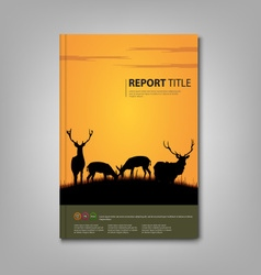 Brochures book or flyer with deer and lane in vector