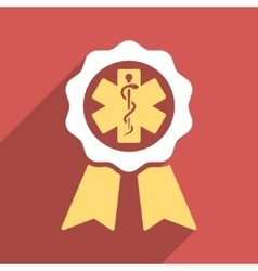 Medical seal flat longshadow square icon vector