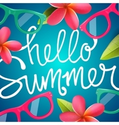 Hello summer colorful background with Frangipani vector image