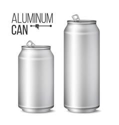 blank metallic can silver can 3d vector image vector image