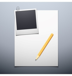 Blank paper and polaroid photo frame vector image vector image