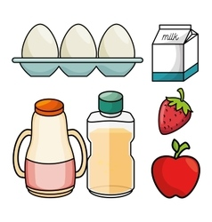 Breakfast concept egg milk appple strawberry juice vector