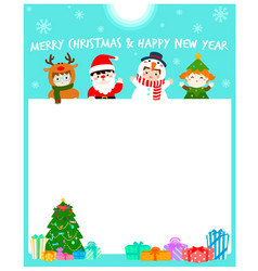 cartoon of cute kids wearing christmas card vector image vector image