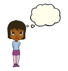 Cartoon shy girl with thought bubble vector